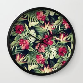 Night tropical garden Wall Clock