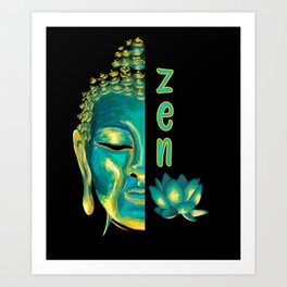 Zen Buddhist Digital Painting Blue & Yellow Buddha Lotus Art Art Print