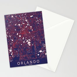 Orlando, FL, USA, Blue, White, City, Map Stationery Cards