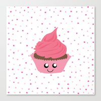 Canvas Prints featuring Valentine's Day Cupcake with Confetti Sprinkles (Dazzling Pink Polka Dots / Valentine Gift) by HIGraphicDesigns