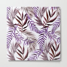 Purple Palm Leaves 2 Metal Print