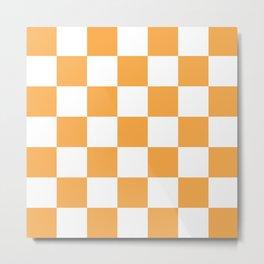 Large Light Orange Checkerboard Pattern Metal Print