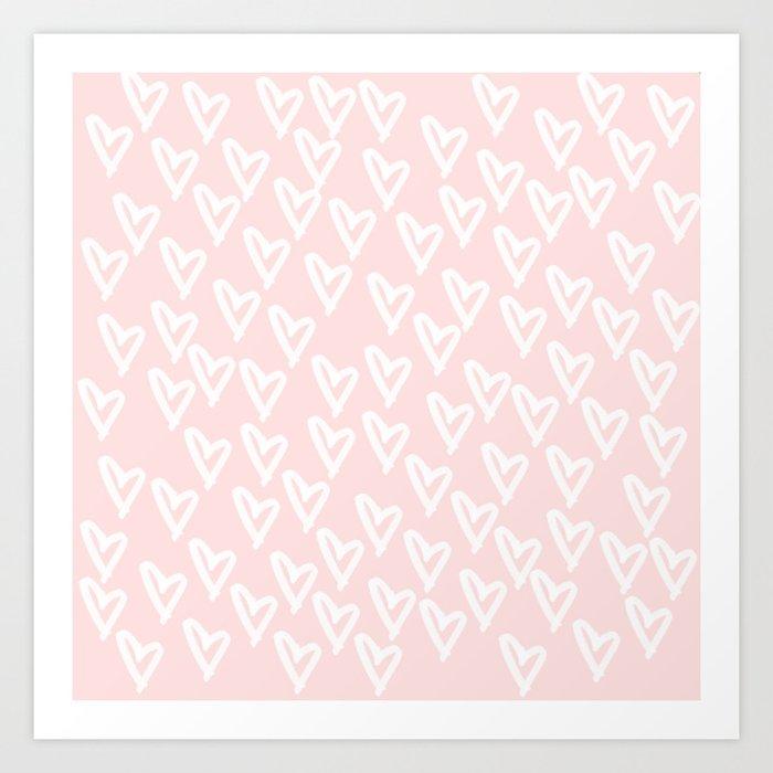 White hearts Art Print