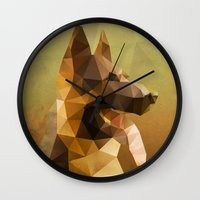german shepherd Wall Clocks featuring The German Shepherd by Ed Burczyk