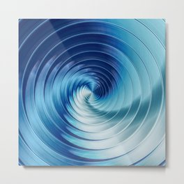 Metallic Blue Disks Metal Print