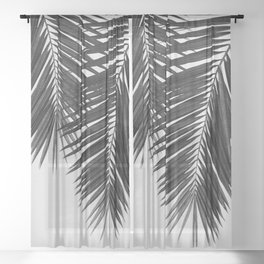 Palm Leaf Black & White II Sheer Curtain