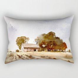 Lonely house on a hillfarm Rectangular Pillow