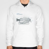 blueprint Hoodies featuring The Z-Machinery - Technical Blueprint by SHIO-Z