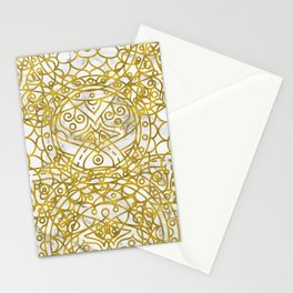 Golden Ornamental Mandala on White Marble Stationery Cards
