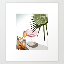 Two Cocktails and a Palm Art Print