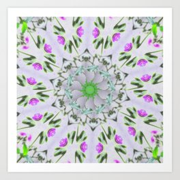Purple Wildflower Kaleidoscope Art 7 Art Print