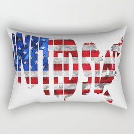 United States Typographic Flag / Map Art Rectangular Pillow