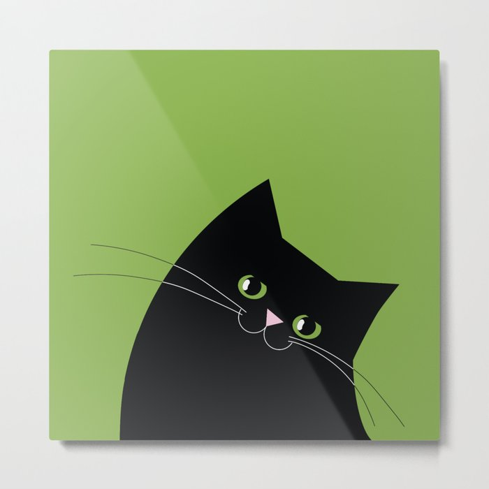 Black Cat and Color of the Year 2017, Greenery Metal Print