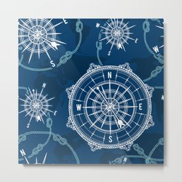 Navy Blue Nautical Pattern Metal Print