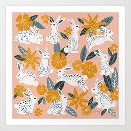 Bunnies & Blooms – Teal & Blush Art Print
