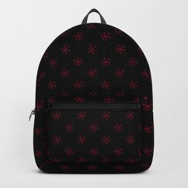 Burgundy Red on Black Snowflakes Backpack