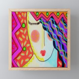Colorful Abstract Portrait of a Woman Framed Mini Art Print