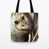 alabama Tote Bags featuring Alabama Possum by Chuck Buckner
