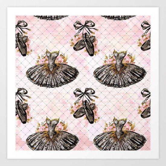 Black Tutu Ballerina Art Print
