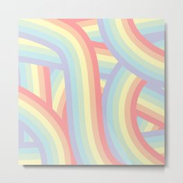 Soft Pastel Rainbow Stripes Pattern Metal Print