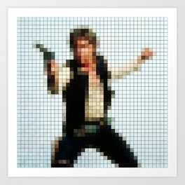 Han with Gun Pixels Texture Art Print