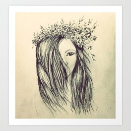 Girl with floral crown Art Print