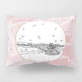 Santa Monica Pier, California City Skyline Illustration Drawing Pillow Sham