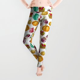 Autumn  Pattern with Food and Drink and Lamp Leggings