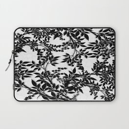 Toile Black and White Tangled Branches and Leaves Laptop Sleeve