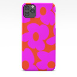Pink Retro Flowers Orange Red Background #decor #society6 #buyart iPhone Case