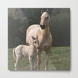 CArt Horse with foal Metal Print