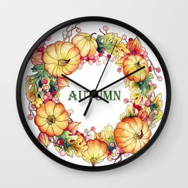 Wreath with pumpkins and oak leaves Wall Clock