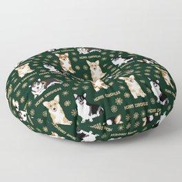 Merry Corgmess- Corgis Celebrate Christmas - green Floor Pillow