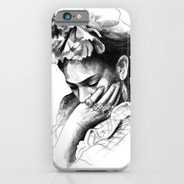 Frida Kahlo - pencil portrait iPhone Case