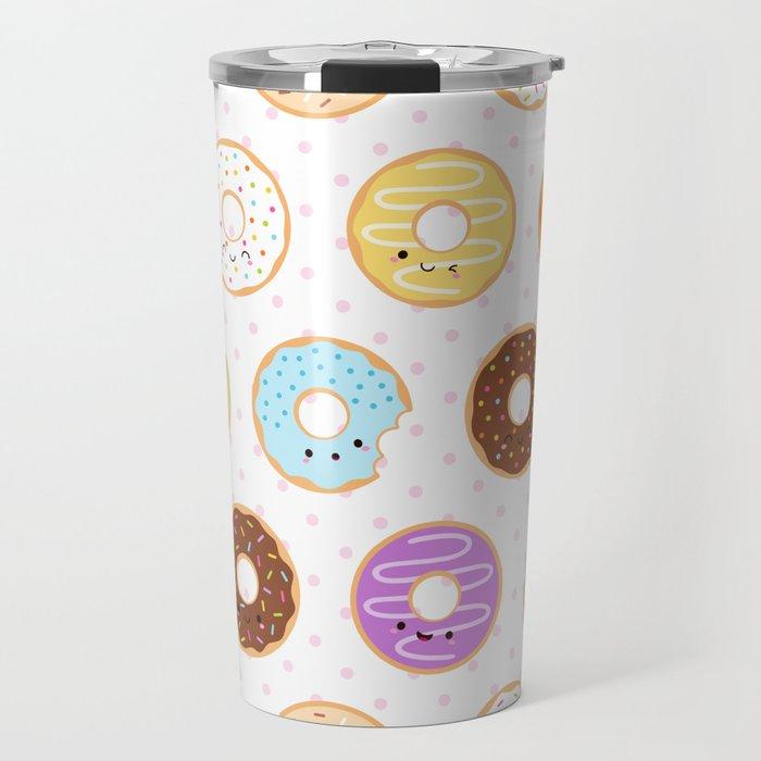 Happy Cute Donuts Pattern Travel Mug