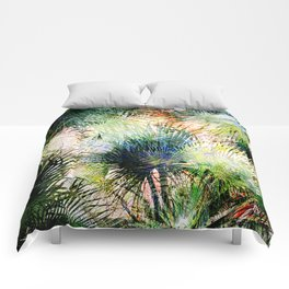 Modern palm leaves tropical abstract design Comforters