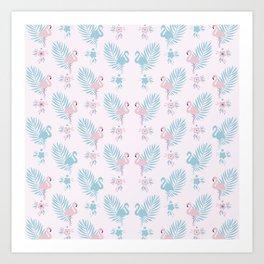 Pretty Pastel Flamingo Chevron Pattern #decor Art Print