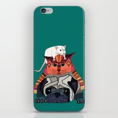 mouse cat pug teal iPhone & iPod Skin