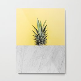 Pineapple and marble Metal Print