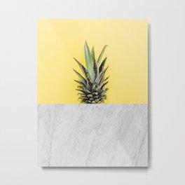 Pineapple and marble Metal Print