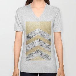 Stylish black white faux gold elegant geometrical marble Unisex V-Neck