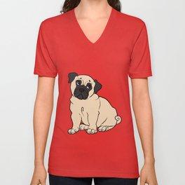 Fawn Pug Unisex V-Neck