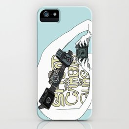 Shoot with cameras not guns iPhone Case