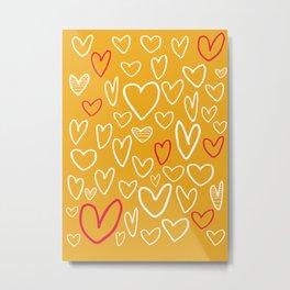 Doodle Hearts Metal Print