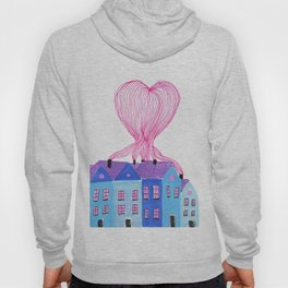 All together, Line art drawing heart, city, watercolor, modern minimal landscape Hoody