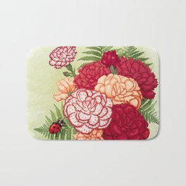 Full bloom | Ladybug carnation Bath Mat