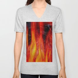 Embossed Flame Forms Unisex V-Neck