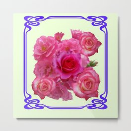 RED & PINK  ART NOUVEAU ROSES Metal Print