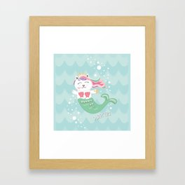 Purrmaid, Cat Mermaid Princess Framed Art Print