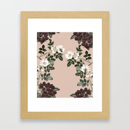 Bee Blackberry Bramble Coral Pink Framed Art Print